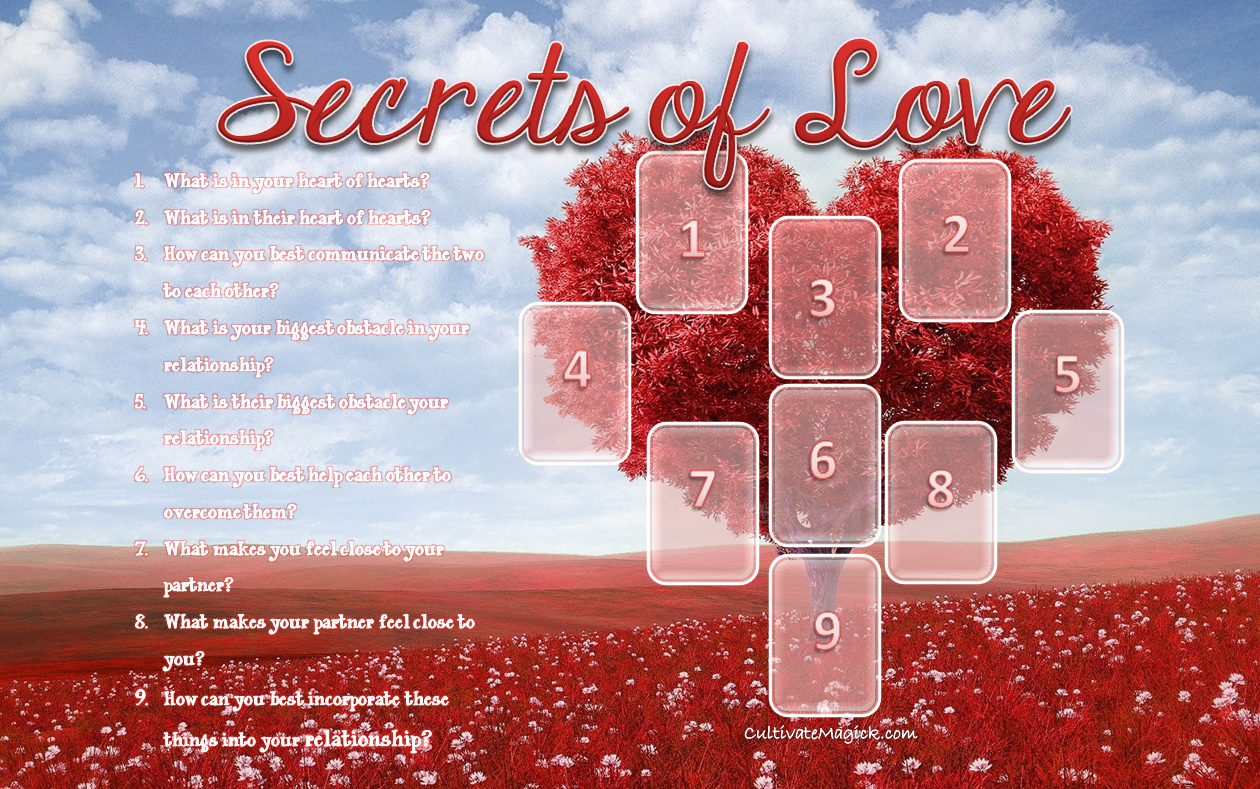 Secrets of Love Spread by Cultivate Magick. Clarify your relationship with a detailed Tarot Spread!